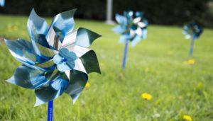 Blue pinwheels in green grass
